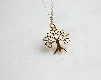 Gold Tree of Life necklace - Tree of Life Necklace - Gift for Her - Gift for Mom - Gold Filled Necklace - Layering necklace