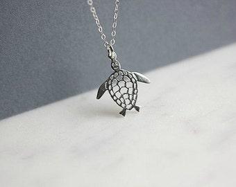 Silver Turtle Necklace - Turtle necklace - Silver Turtle Pendant - Turtle Jewelry