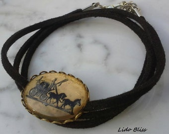 Vintage Pendant Necklace Choker, Horse and Carriage