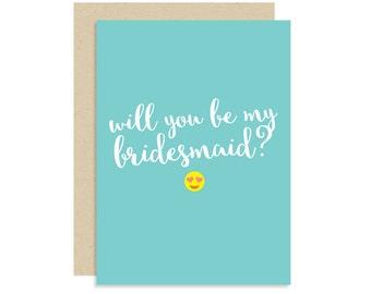 Emoji Bridesmaid Proposal Card - Will You Be My Bridesmaid - Wedding 5x7