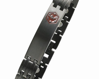 Black Stainless Steel Magnetic Medical ID Bracelet - SBB816MED