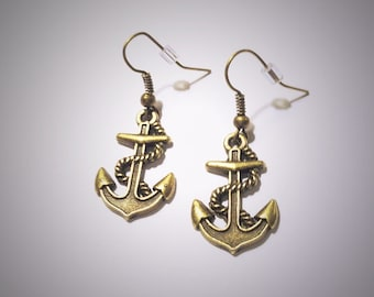 Anchor Earrings, Bronze Anchor Earrings, Antique Sailor Anchor Earrings, Nautical Earrings, Simple Earrings, Rockabilly Everyday Jewellery