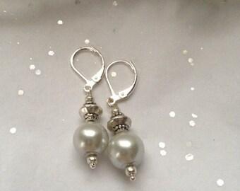 Silver Glass Pearl Drop Earrings