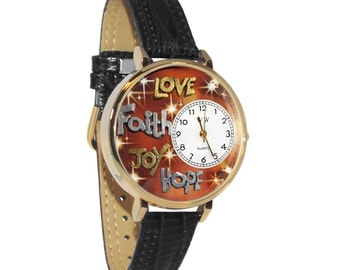 Whimsical Faith Hope Love Joy Watch Women's-Hand Painted-Black Leather-Scratch Resistant Glass-Quartz Movement-Made in USA-Battery Gift Box