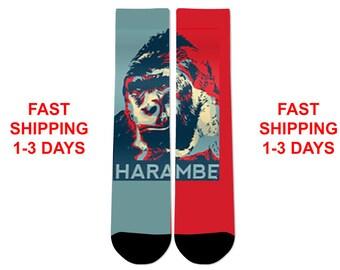 Harambe The Gorilla Poster Crew Socks NEW