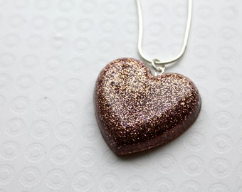 Heart Necklace, Rose Gold, Glitter Necklace, Resin Necklace, Resin Pendant, Resin Jewellery