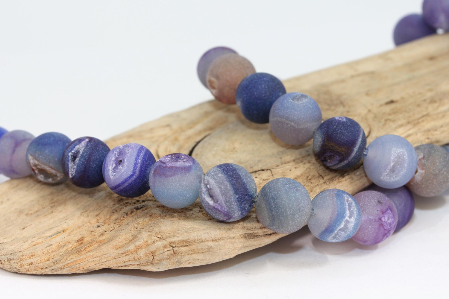 Purple Druzy Agate Beads / 8 or 12 mm matte purple and - photo#12