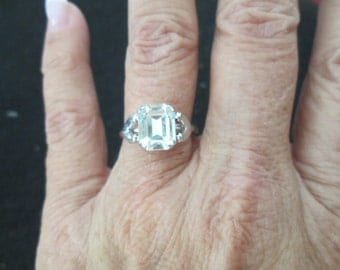 Vintage White Topaz Ring, size 8 only, never worn