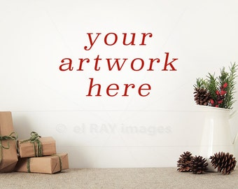 Blank Wall Christmas Mockup for Your Artwork | Styled Stock Photography