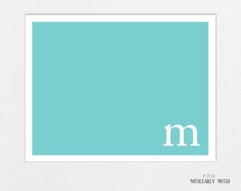 Solid Monogram Custom note cards