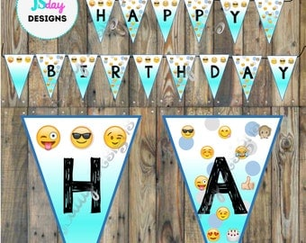 Emoji Birthday Banner, Emoji Party Supplies; Pennant Banner, Happy Birthday Banner;Teen Tween Party, Cell phone; Flag Banner; boy; girl