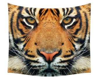 Tiger Tapestry, Animal Tapestry, Wall Art, Nature Print, Wild Portrait, Cat Face Photo, Animals Photography, Exotic Natural Art, Wall Decor