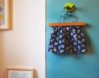 Skirt baby ribbed floral blue girl - 1 year