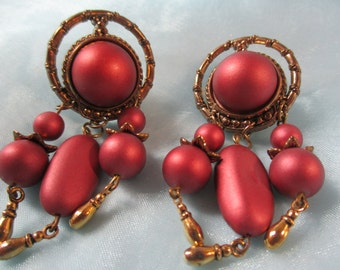 Mauve Bead and Gold tone Metal Clip on Earrings
