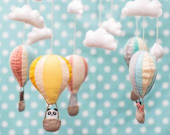 Hot Air Balloon Mobile, DIY KIT, Nursery Decor, Wool Felt Kit, Lia Griffith, Baby Shower Gift, Needlework, Sewing Pattern, Notions, Stuffing