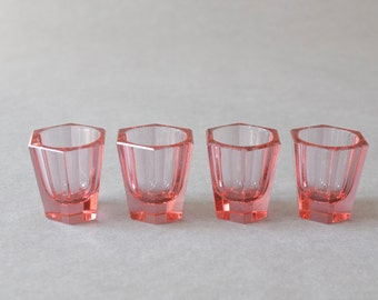 Vintage pink faceted diamond shaped glass shooters bar set sturdy party Ref: 613