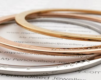 Personalised rose gold silver bangle for mum grandma aunt Wedding bracelet bridesmaid gift cuff anniversary valentines Mothers day Christmas