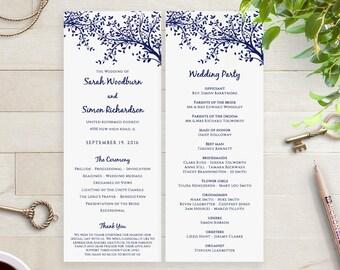 Printable Navy Wedding Program Template DIY, long thin program order of service printable, navy leaves   DIY Editable printable template