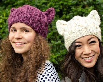 Pussyhat Pattern, Cat Hat Knitting Pattern, Cat Hat Pattern, Resist Pussyhat, Knitting Patterns for Women, Cat Ears Ariana Grande, Cosplay