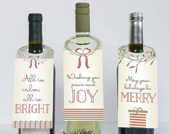 Holiday Wine Tags, Holiday Wine Labels - Christmas Wine Tag- Set of 3 -Wine Bottle Tag - Happy Holidays - Wine Gift -PRINTABLE-DIY