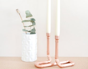 Copper Pipe Candle Holder Duo - Perfect For Wedding Centerpieces