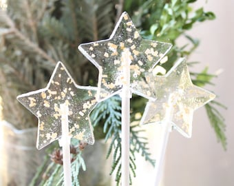 Christmas New Years Gold Glitter Star Lollipops 8 pieces