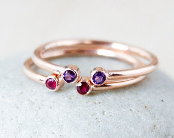 Dual Birthstone Ring - AAA Gemstones - Rose Gold