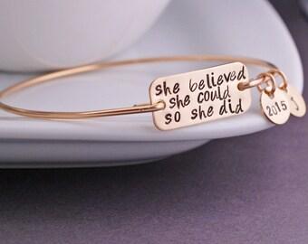 She Believed She Could So She Did Bracelet, Graduation Jewelry Gift, Inspirational Bangle Bracelet, Nursing Graduation