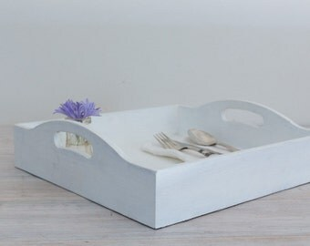 vintage wooden tray with cut out handles