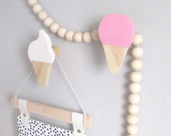 Ice cream wall hook - fun wooden hooks - modern kids room decor - pine wall hanger