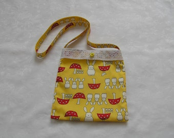 childrens bag, rabbit fabric, yellow fabric, rabbits, fully lined, gift for girls