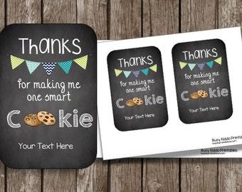 50% OFF SALE Teacher Appreciation - Smart Cookie - Printable Card - Editable - Instant Download - Gift Card Holder