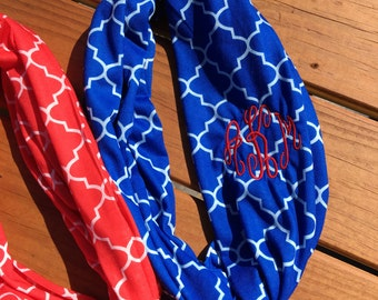 Personalized Monogrammed Infinity Scarf – Blue or Red