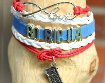 Boricua Puerto rico bracelet (You'r choice of image or charm)