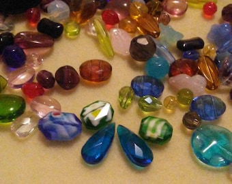 Assorted, 5oz mixed glass and crystal beads, bead soup, bead destash, jewelry and beading supplies