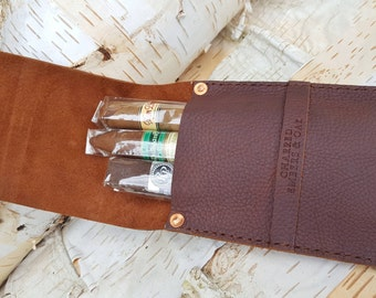 Small 3 Finger Leather Cigar Case Holder Pouch