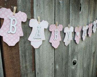 Girl Baby Shower Banner, Baby Girl Onesie Banner, Girl Onesie Banner, Pink Onesie Banner