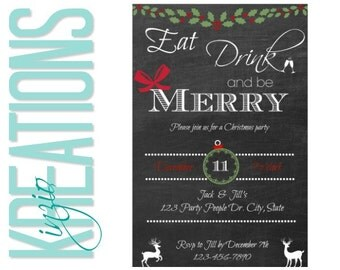 Christmas party invitation #3 - eat drink and be merry invite - chalkboard style