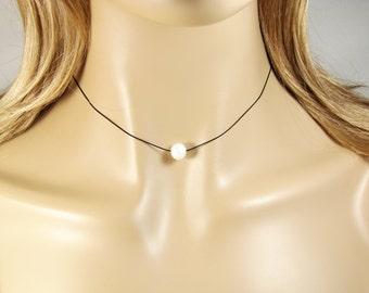 Pearl Choker Necklace Silk Cord. Pearl String Necklace