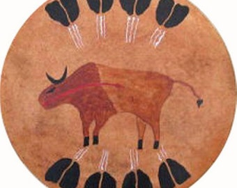 Drum Native American shaman excellent sound - Buffalo feathers Thunderdrum covered with Buffalo rawhide
