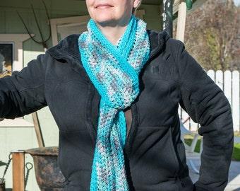 Teal scarf, crochet