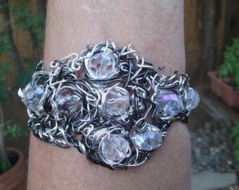 """Wire Bracelet, Handmade- Crystals,  Silver, Hematite  Design (L- 9"""")"""