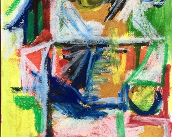 Original, signed mixed media acrylic and oil pastel painting. Totem.