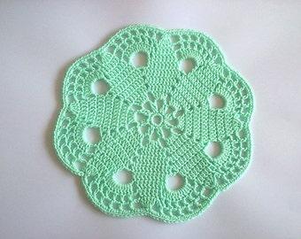 Crochet Doily, Crochet Mint Doily, Crochet Mint Coasters, Crochet Round Coasters, Round Mint Coasters, Mint Doily, Green Doly, Green Coaster
