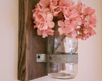 Mason Jar Vase - Handmade - Reclaimed Wood and Mason Jar - Mason Jar Candle Holder - Mason Jar Vase - Wood Wall Sconce - Wall Vase