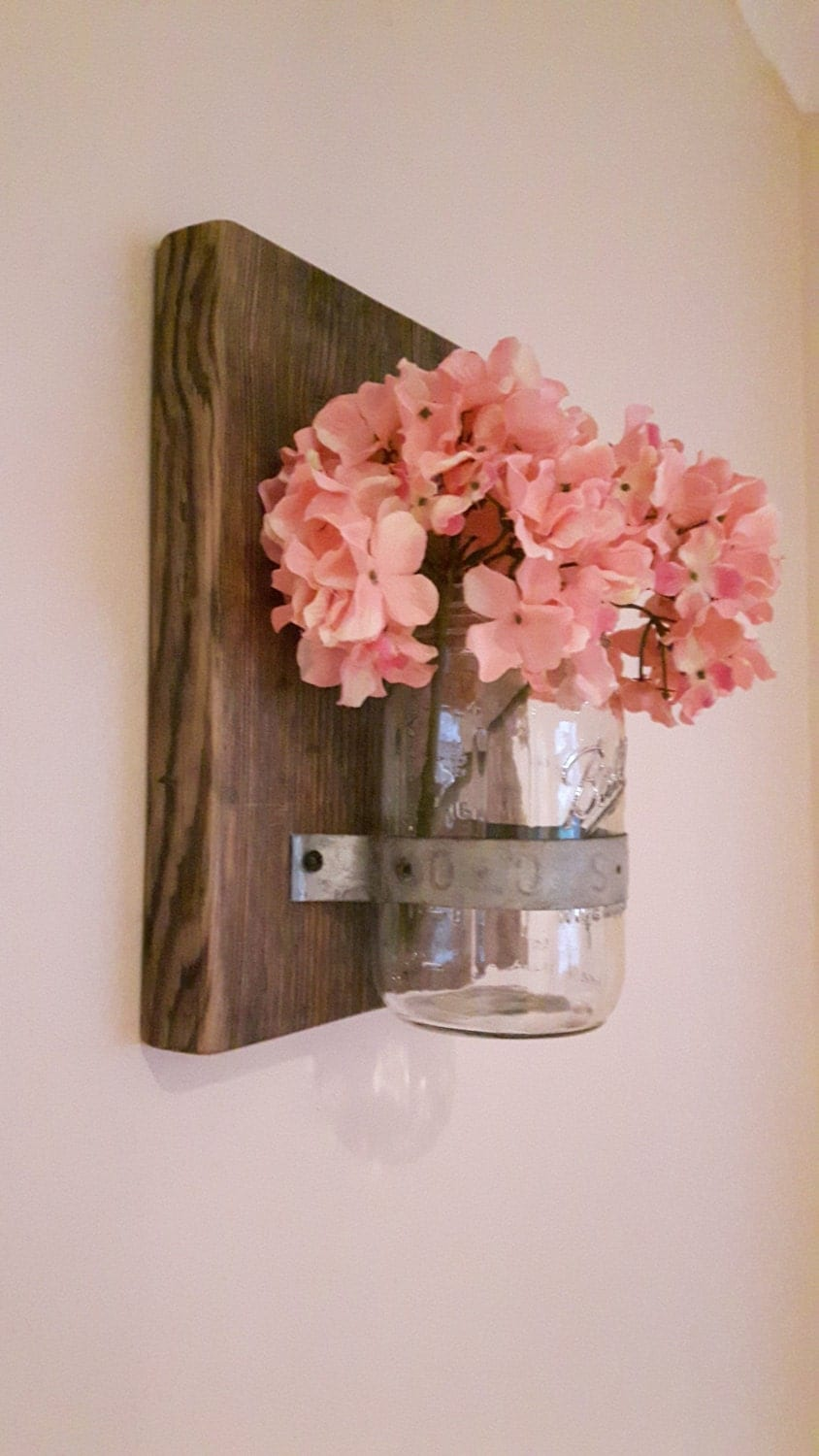 mason jar vase handmade reclaimed wood and mason jar. Black Bedroom Furniture Sets. Home Design Ideas