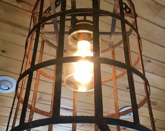 Vintage Metal Basket Upcycled Pendant Light