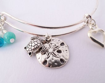 Turtle and sand dollar beach theme bangle bracelet in 3 color choices