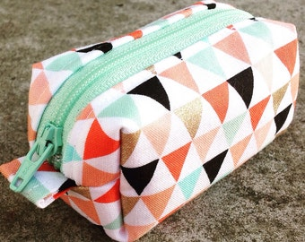 Small boxy pouch, boxy coin purse, headphone pouch, geometric triangles