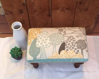 SOLD --Upholstered footstool, ottoman,foot stool, pouff, stool,foot rest
